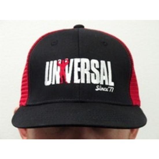 Universal Red & Black Snapback Mesh Hat